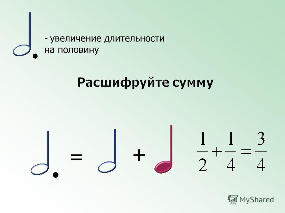 + = - увеличение длительности на половину