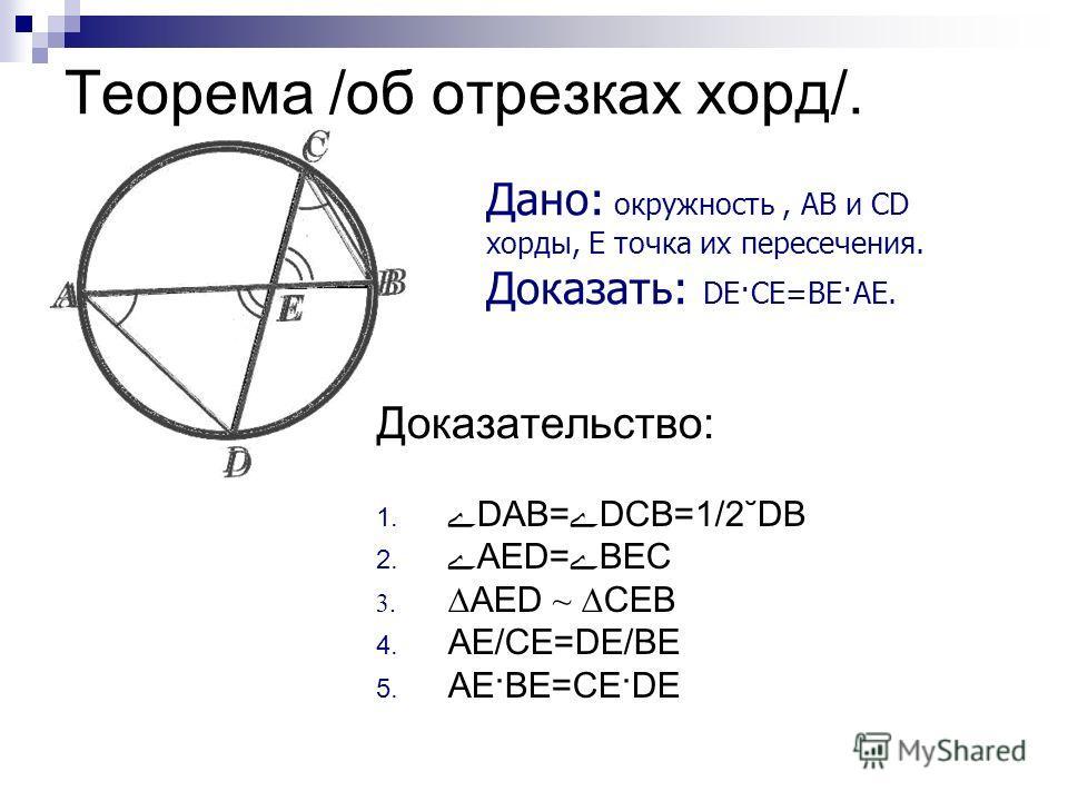 Теорема /об отрезках хорд/. Доказательство: 1. ےDАВ=ے DСВ=1/2 ˘ DВ 2. ےАЕD=ےВЕС 3. АЕD ~ СЕВ 4. АЕ/СЕ=DЕ/ВЕ 5. АЕ·ВЕ=СЕ·DЕ Дано: окружность, АВ и СD хорды, Е точка их пересечения. Доказать: DЕ·СЕ=ВЕ·АЕ.