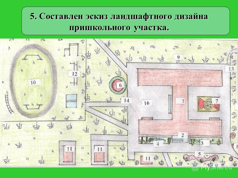 5. Составлен эскиз ландшафтного дизайна пришкольного участка.