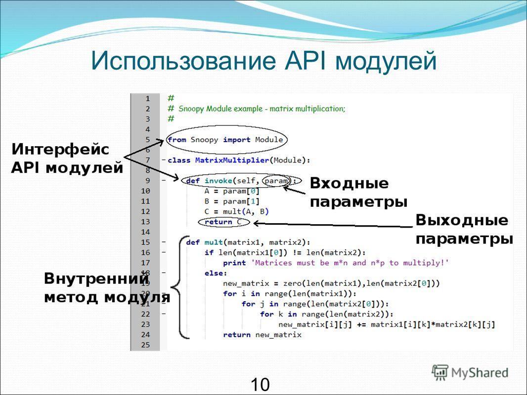 Использование API модулей 1010