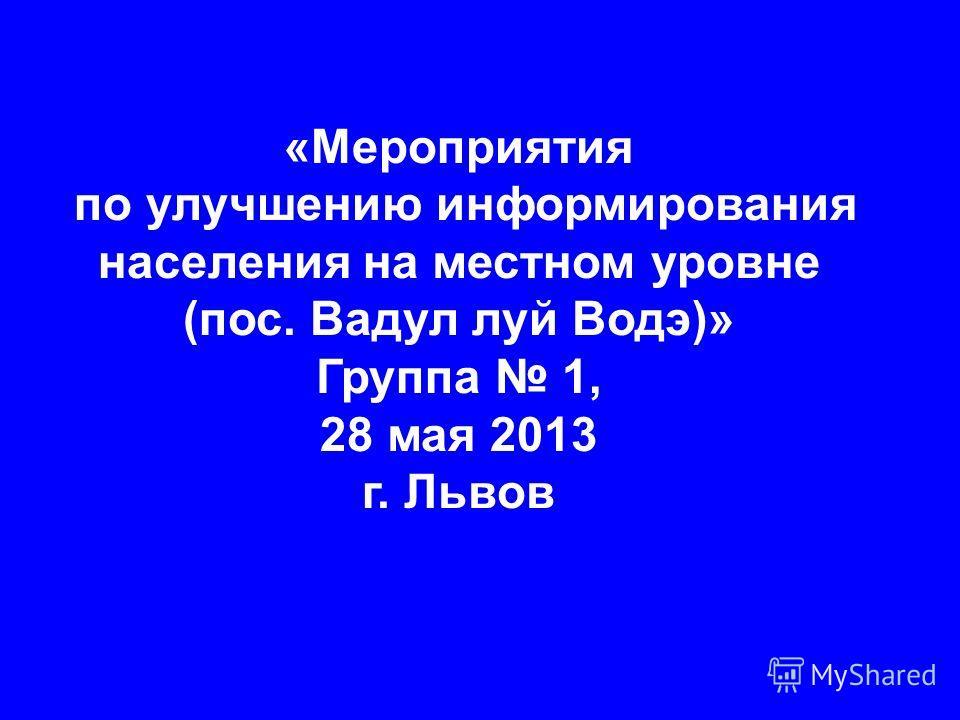«Мероприятия по улучшению информирования населения на местном уровне (пос. Вадул луй Водэ)» Группа 1, 28 мая 2013 г. Львов
