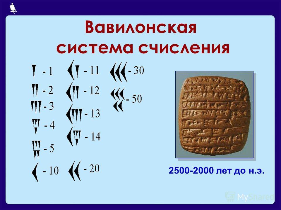 Вавилонская система счисления 2500-2000 лет до н.э.