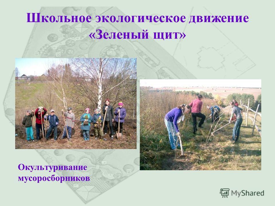Школьное экологическое движение «Зеленый щит» Окультуривание мусоросборников
