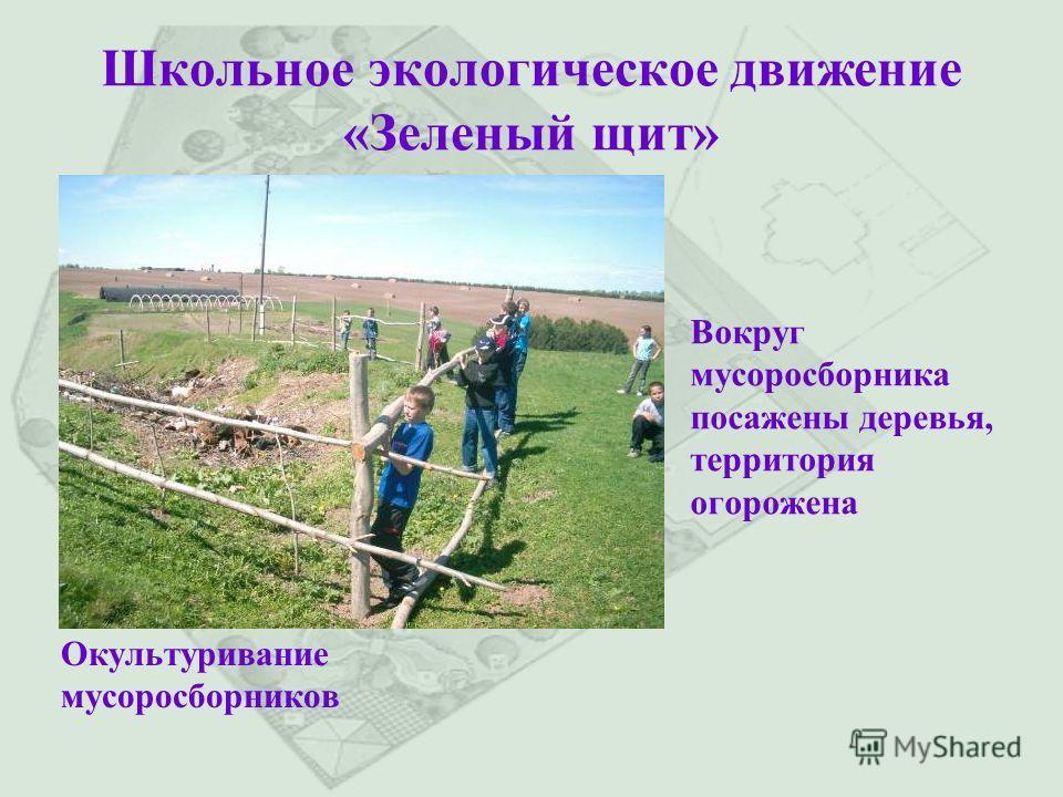 Школьное экологическое движение «Зеленый щит» Окультуривание мусоросборников Вокруг мусоросборника посажены деревья, территория огорожена