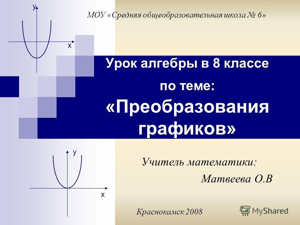 Урок алгебры в 8 классе по теме: «Преобразования графиков» у у х х МОУ «Средняя общеобразовательная школа 6» Учитель математики: Матвеева О.В Краснокамск 2008