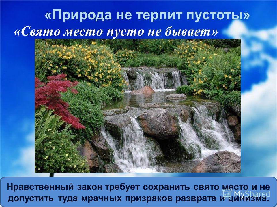 « Природа не терпит пустоты » « Свято место пусто не бывает » Нравственный закон требует сохранить свято место и не допустить туда мрачных призраков разврата и цинизма.