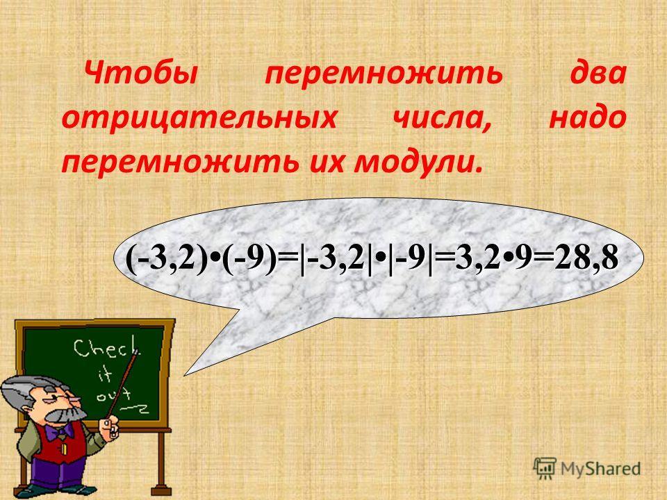 Чтобы перемножить два отрицательных числа, надо перемножить их модули. (-9)=|-3,2||-9|=3,29=28,8 (-3,2)(-9)=|-3,2||-9|=3,29=28,8