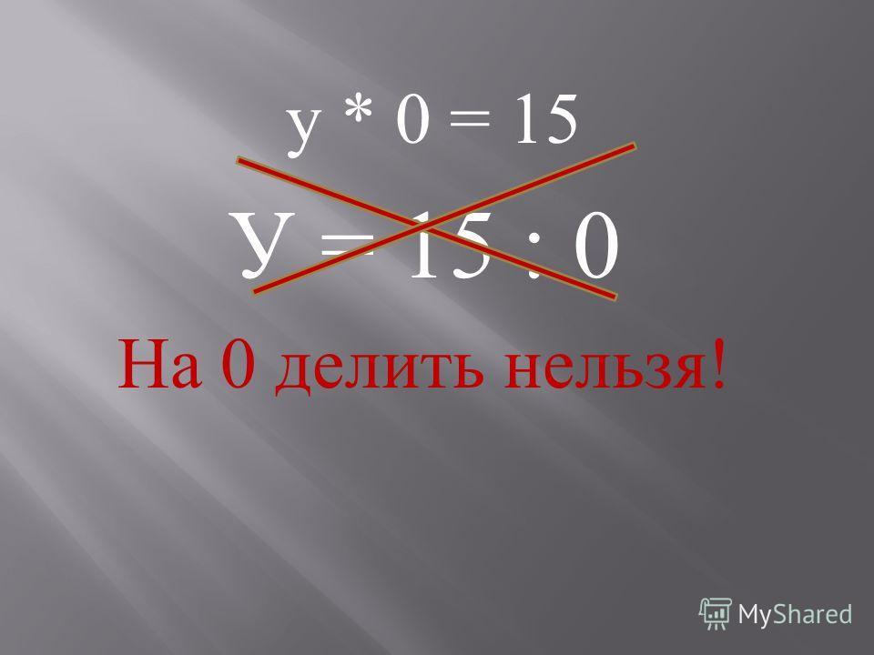 у * 0 = 15 У = 15 : 0 На 0 делить нельзя !