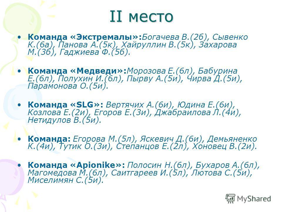 II место Команда «Экстремалы»:Богачева В.(2б), Сывенко К.(6а), Панова А.(5к), Хайруллин В.(5к), Захарова М.(3б), Гаджиева Ф.(5б). Команда «Медведи»:Морозова Е.(6л), Бабурина Е.(6л), Полухин И.(6л), Пырву А.(5и), Чирва Д.(5и), Парамонова О.(5и). Коман