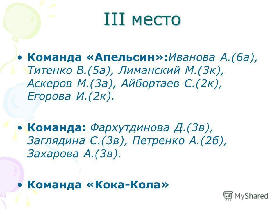 III место Команда «Апельсин»:Иванова А.(6а), Титенко В.(5а), Лиманский М.(3к), Аскеров М.(3а), Айбортаев С.(2к), Егорова И.(2к). Команда: Фархутдинова Д.(3в), Заглядина С.(3в), Петренко А.(2б), Захарова А.(3в). Команда «Кока-Кола»
