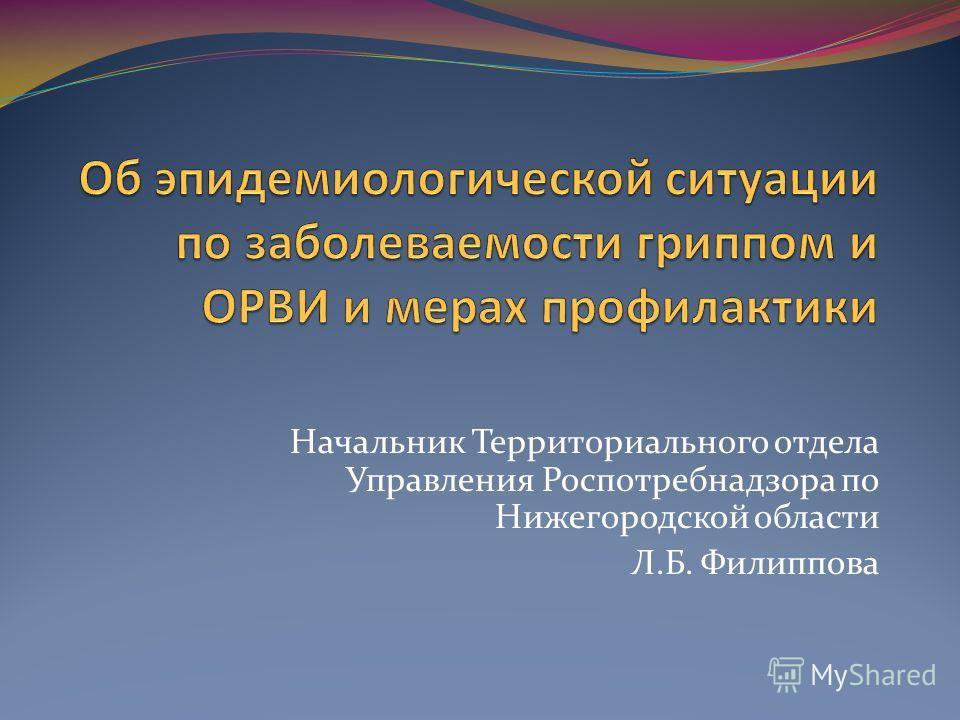 Начальник Территориального отдела Управления Роспотребнадзора по Нижегородской области Л.Б. Филиппова