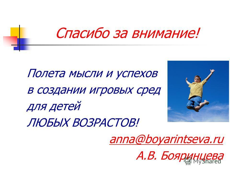 Спасибо за внимание! Полета мысли и успехов в создании игровых сред для детей ЛЮБЫХ ВОЗРАСТОВ! anna@boyarintseva.ru А.В. Бояринцева