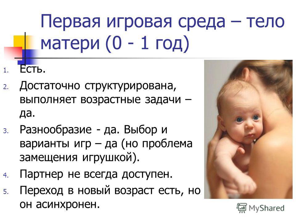 Первая игровая среда – тело матери (0 - 1 год) 1. Есть. 2. Достаточно структурирована, выполняет возрастные задачи – да. 3. Разнообразие - да. Выбор и варианты игр – да (но проблема замещения игрушкой). 4. Партнер не всегда доступен. 5. Переход в нов