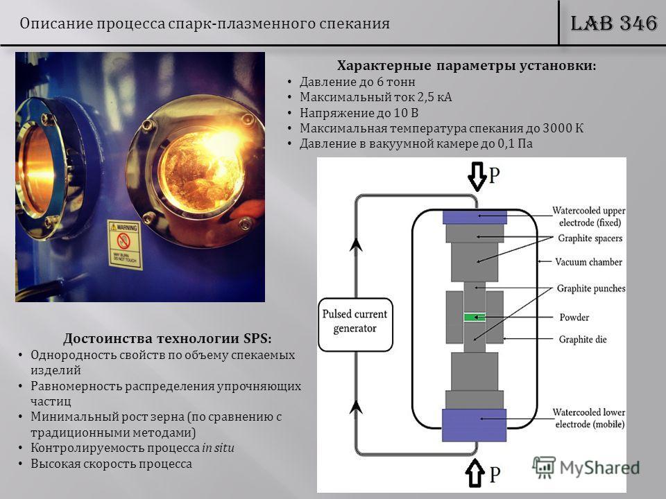 LAB 346 Описание процесса спарк-плазменного спекания Достоинства технологии SPS: Однородность свойств по объему спекаемых изделий Равномерность распределения упрочняющих частиц Минимальный рост зерна (по сравнению с традиционными методами) Контролиру