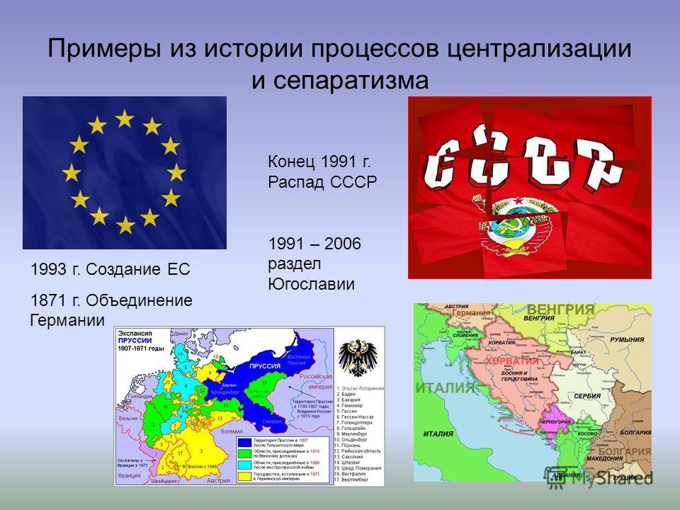 Примеры из истории процессов централизации и сепаратизма 1993 г. Создание ЕС 1871 г. Объединение Германии Конец 1991 г. Распад СССР 1991 – 2006 раздел Югославии