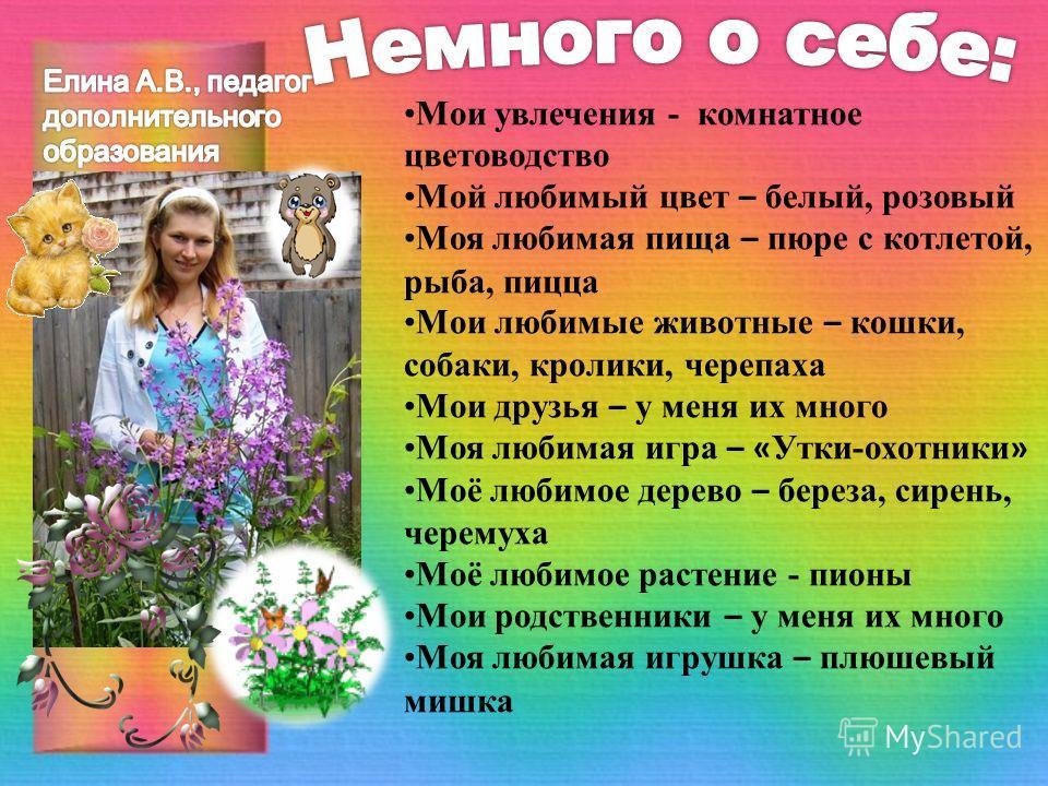 Мои увлечения - комнатное цветоводство Мой любимый цвет – белый, розовый Моя любимая пища – пюре с котлетой, рыба, пицца Мои любимые животные – кошки, собаки, кролики, черепаха Мои друзья – у меня их много Моя любимая игра – « Утки-охотники » Моё люб