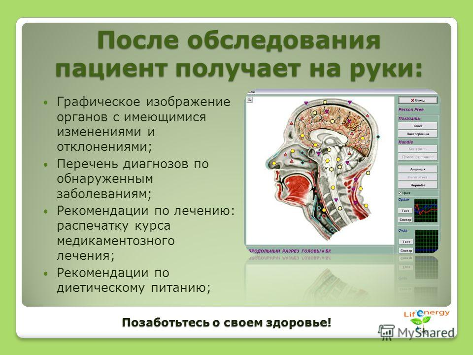 После обследования пациент получает на руки: Графическое изображение органов с имеющимися изменениями и отклонениями; Перечень диагнозов по обнаруженным заболеваниям; Рекомендации по лечению: распечатку курса медикаментозного лечения; Рекомендации по