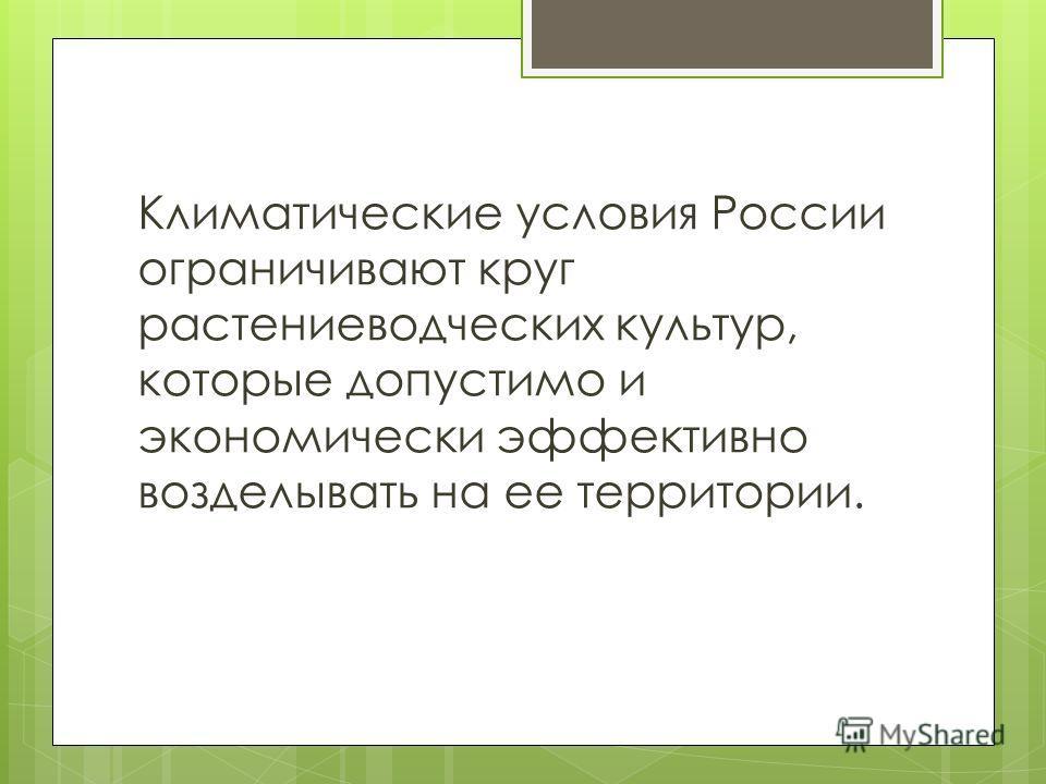 Климатические условия России ограничивают круг растениеводческих культур, которые допустимо и экономически эффективно возделывать на ее территории.