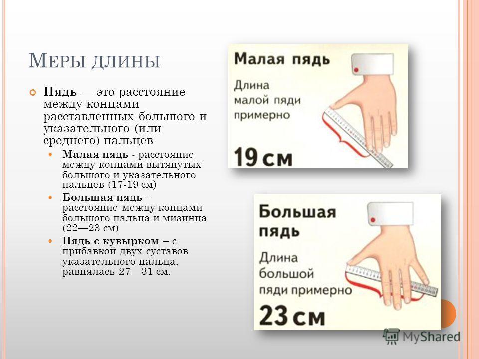 М ЕРЫ ДЛИНЫ Пядь это расстояние между концами расставленных большого и указательного (или среднего) пальцев Малая пядь - расстояние между концами вытянутых большого и указательного пальцев (17-19 см) Большая пядь – расстояние между концами большого п