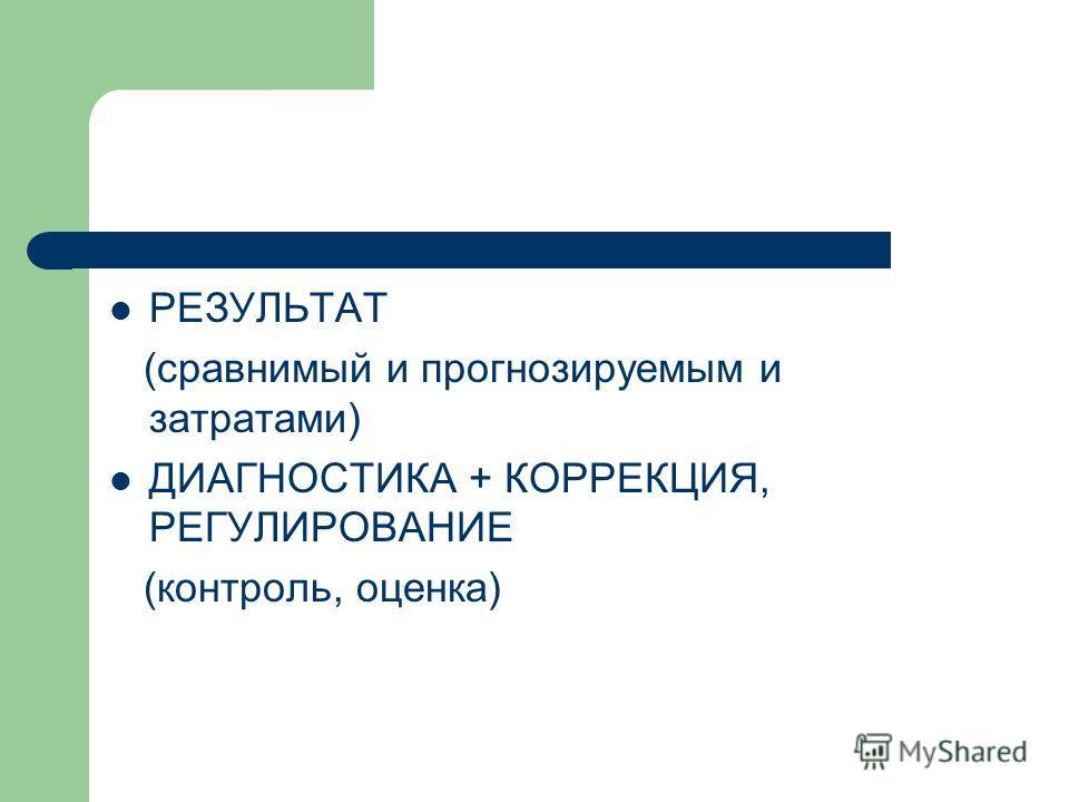 РЕЗУЛЬТАТ (сравнимый и прогнозируемым и затратами) ДИАГНОСТИКА + КОРРЕКЦИЯ, РЕГУЛИРОВАНИЕ (контроль, оценка)