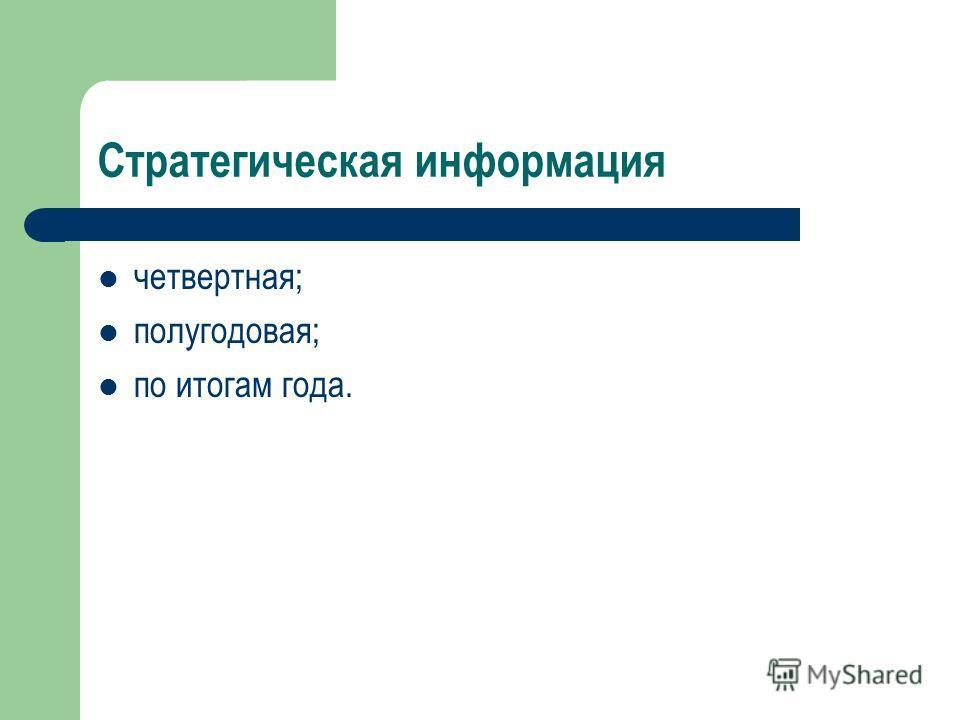Стратегическая информация четвертная; полугодовая; по итогам года.