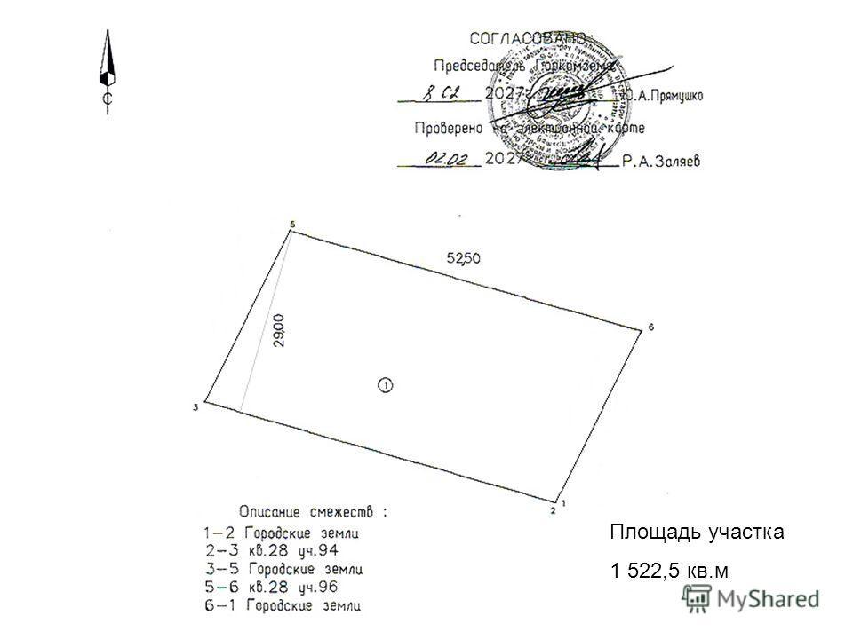 Площадь участка 1 522,5 кв.м