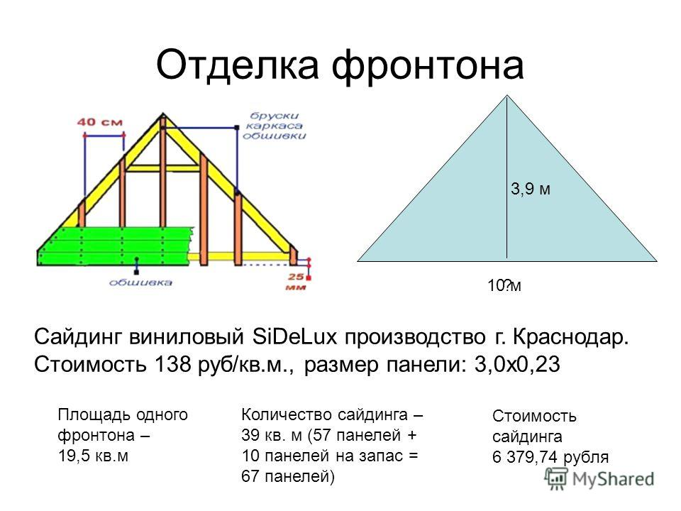 Отделка фронтона ?10 м 3,9 м Сайдинг виниловый SiDeLux производство г. Краснодар. Стоимость 138 руб/кв.м., размер панели: 3,0х0,23 Площадь одного фронтона – 19,5 кв.м Количество сайдинга – 39 кв. м (57 панелей + 10 панелей на запас = 67 панелей) Стои