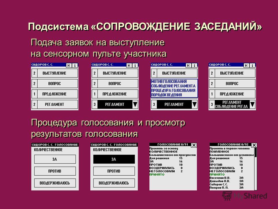 Подача заявок на выступление на сенсорном пульте участника Подсистема «СОПРОВОЖДЕНИЕ ЗАСЕДАНИЙ» Процедура голосования и просмотр результатов голосования