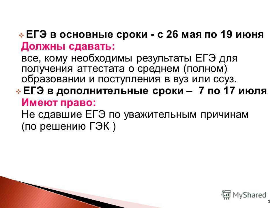 33 ЕГЭ в основные сроки - с 26 мая по 19 июня Должны сдавать: все, кому необходимы результаты ЕГЭ для получения аттестата о среднем (полном) образовании и поступления в вуз или ссуз. ЕГЭ в дополнительные сроки – 7 по 17 июля Имеют право: Не сдавшие Е