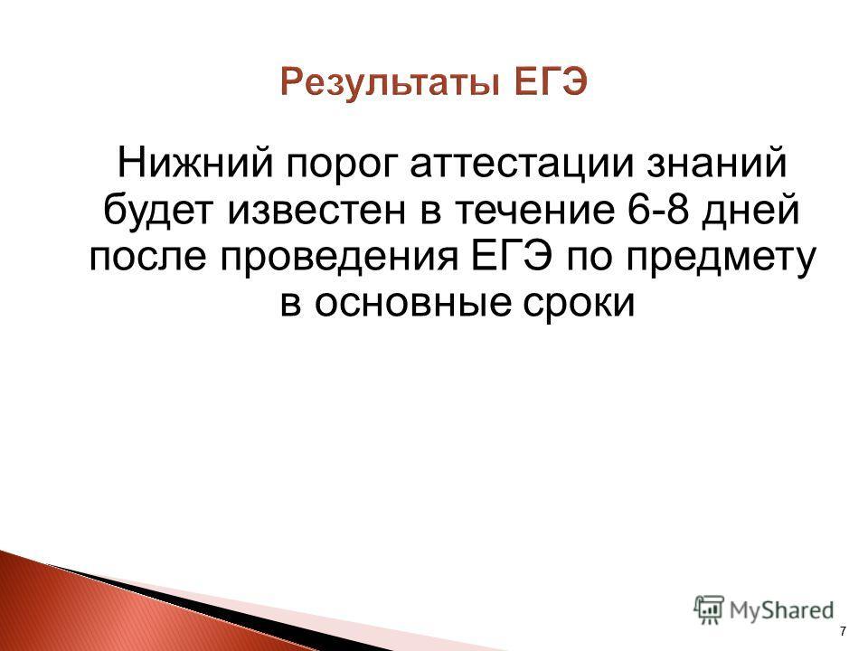 77 Нижний порог аттестации знаний будет известен в течение 6-8 дней после проведения ЕГЭ по предмету в основные сроки