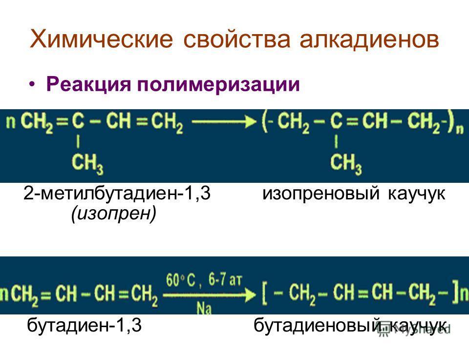Химические свойства алкадиенов Реакция полимеризации 2-метилбутадиен-1,3 изопреновый каучук (изопрен) бутадиен-1,3 бутадиеновый каучук
