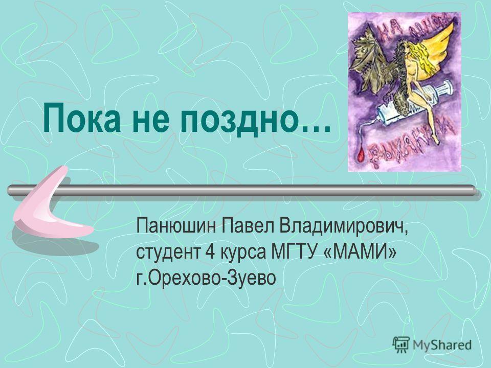Пока не поздно… Панюшин Павел Владимирович, студент 4 курса МГТУ «МАМИ» г.Орехово-Зуево