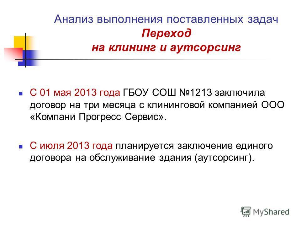 Анализ выполнения поставленных задач Переход на клининг и аутсорсинг С 01 мая 2013 года ГБОУ СОШ 1213 заключила договор на три месяца с клининговой компанией ООО «Компани Прогресс Сервис». С июля 2013 года планируется заключение единого договора на о