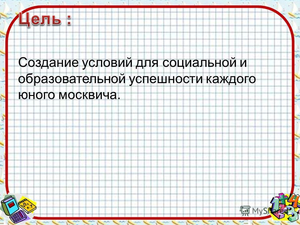 Создание условий для социальной и образовательной успешности каждого юного москвича.