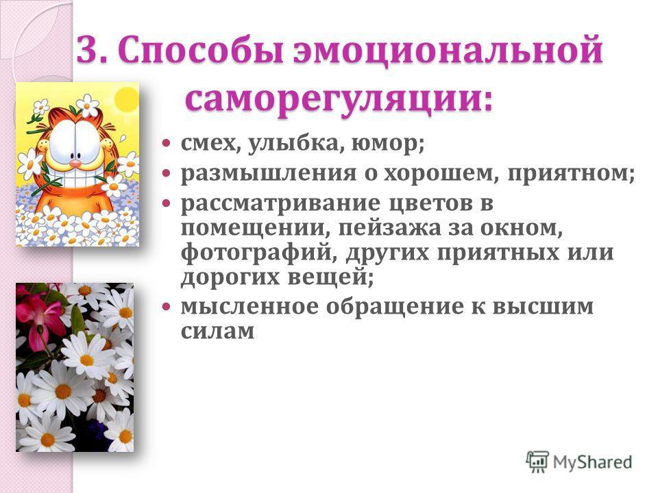 3. Способы эмоциональной саморегуляции: смех, улыбка, юмор; размышления о хорошем, приятном; рассматривание цветов в помещении, пейзажа за окном, фотографий, других приятных или дорогих вещей; мысленное обращение к высшим силам