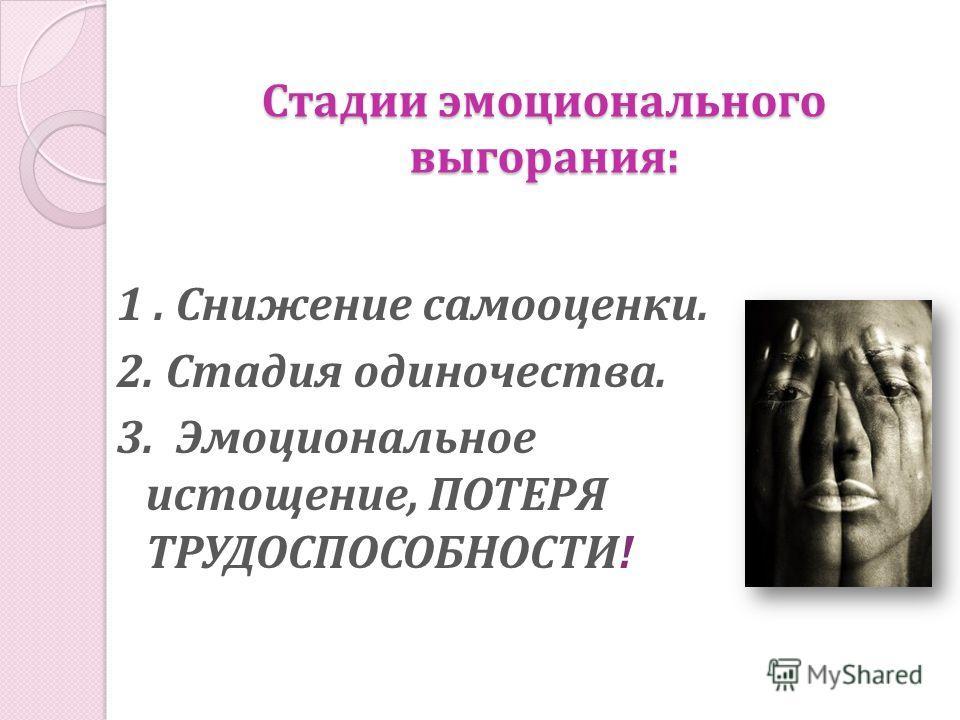 Стадии эмоционального выгорания: 1. Снижение самооценки. 2. Стадия одиночества. 3. Эмоциональное истощение, ПОТЕРЯ ТРУДОСПОСОБНОСТИ!