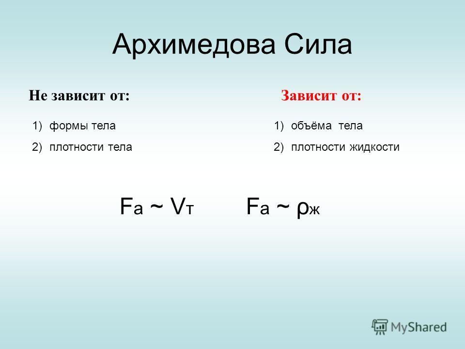 Архимедова Сила Не зависит от: 1)формы тела 2)плотности тела Зависит от: 1)объёма тела 2)плотности жидкости F a ~ V т F a ~ ρ ж