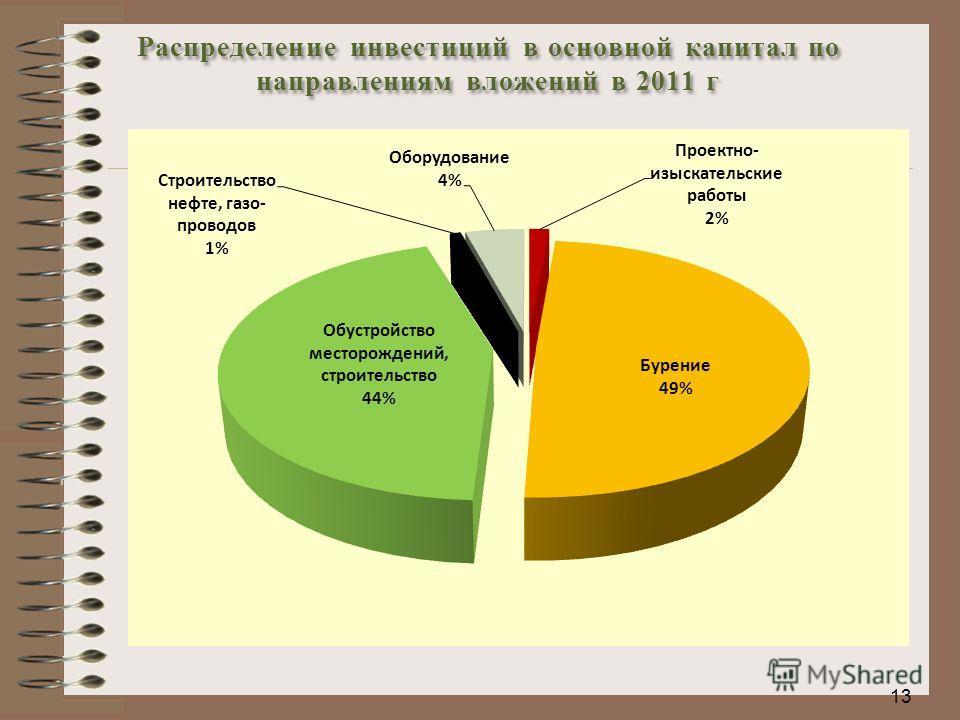 13 Распределение инвестиций в основной капитал по направлениям вложений в 2011 г