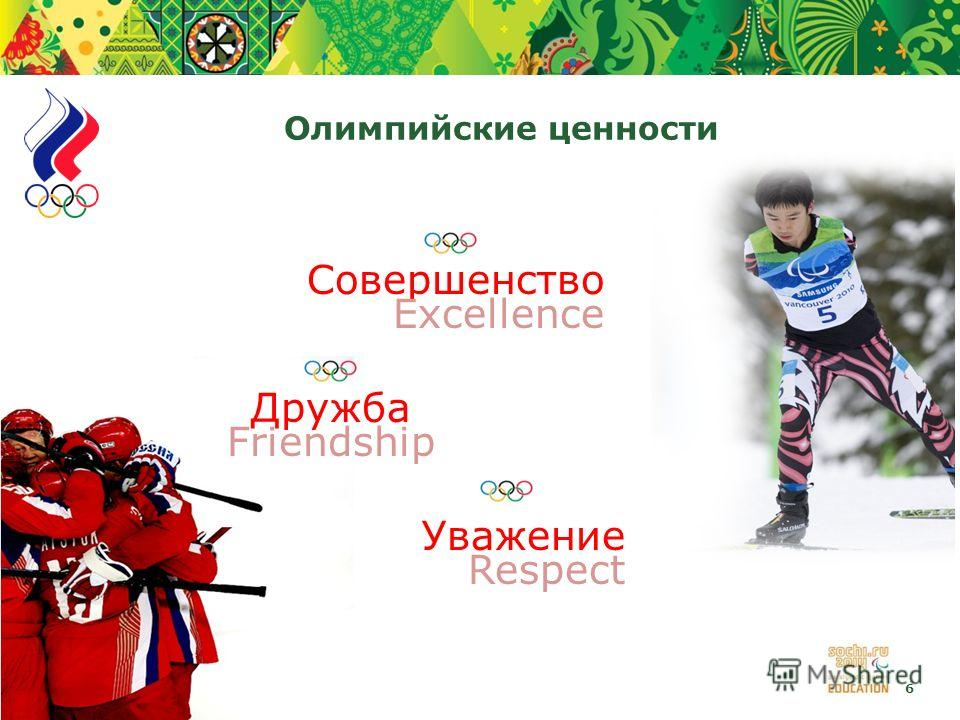 6 Олимпийские ценности Совершенство Excellence Дружба Friendship Уважение Respect
