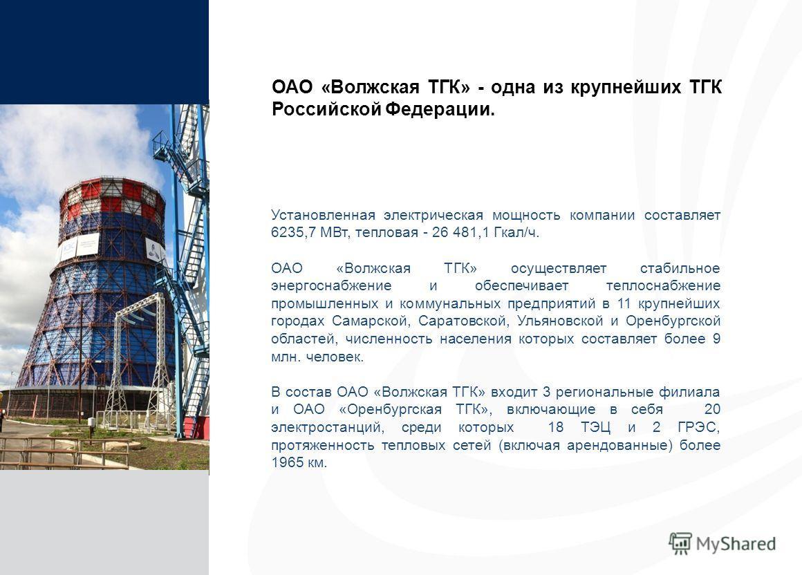 14 Установленная электрическая мощность компании составляет 6235,7 МВт, тепловая - 26 481,1 Гкал/ч. ОАО «Волжская ТГК» осуществляет стабильное энергоснабжение и обеспечивает теплоснабжение промышленных и коммунальных предприятий в 11 крупнейших город