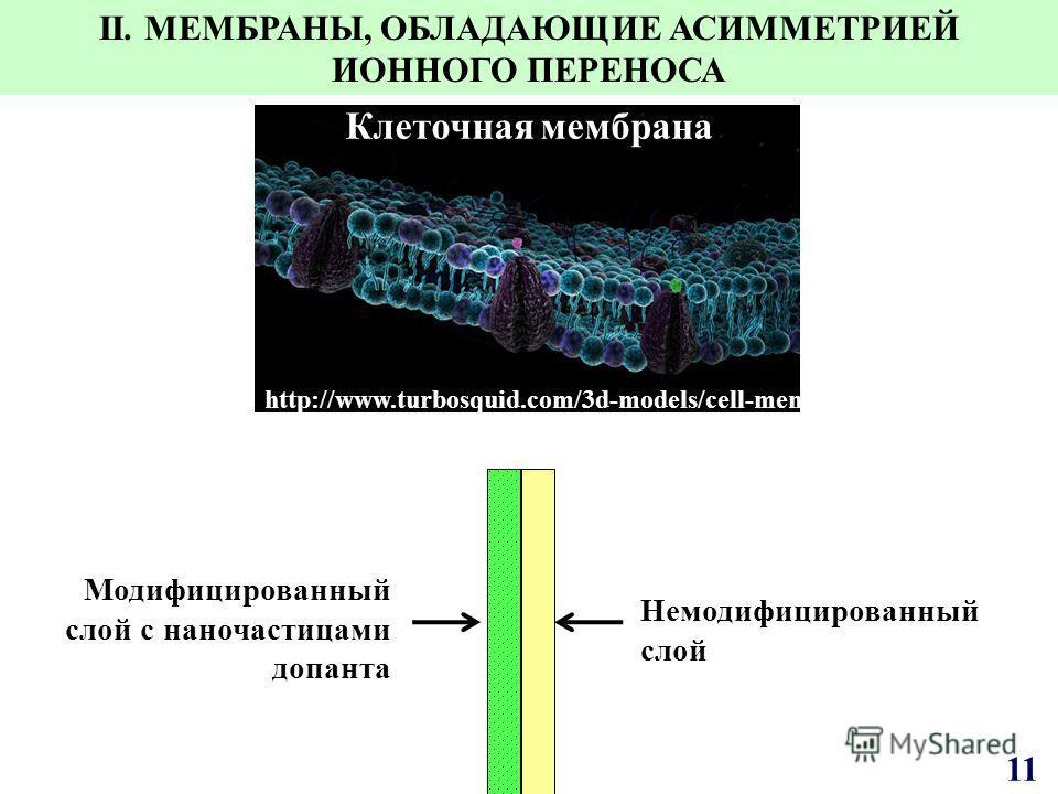Немодифицированный слой Модифицированный слой с наночастицами допанта http://www.turbosquid.com/3d-models/cell-membrane Клеточная мембрана II. МЕМБРАНЫ, ОБЛАДАЮЩИЕ АСИММЕТРИЕЙ ИОННОГО ПЕРЕНОСА 11