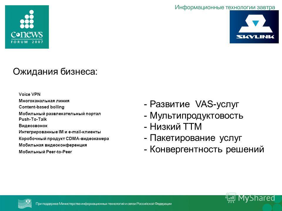 - Развитие VAS-услуг - Мультипродуктовость - Низкий TTM - Пакетирование услуг - Конвергентность решений Voice VPN Многоканальная линия Content-based bolling Мобильный развлекательный портал Push-To-Talk Видеозвонок Интегрированные IM и e-mail-клиенты