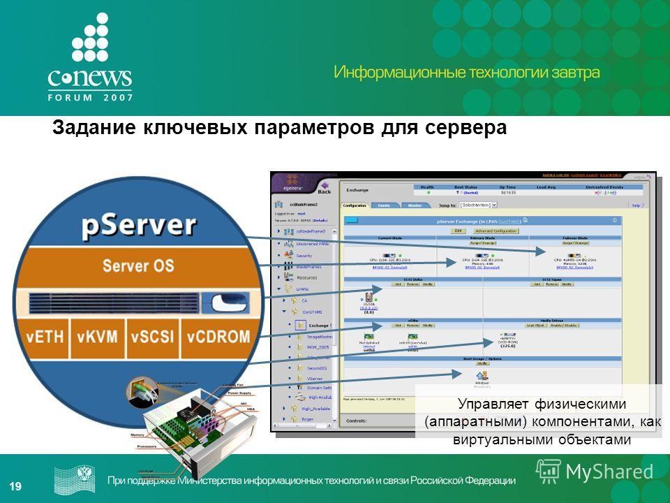 19 Задание ключевых параметров для сервера pServer Диск Адаптеры Коммутатор SAN Коммутатор Ethernet NIC Носи- тель Управляет физическими (аппаратными) компонентами, как виртуальными объектами
