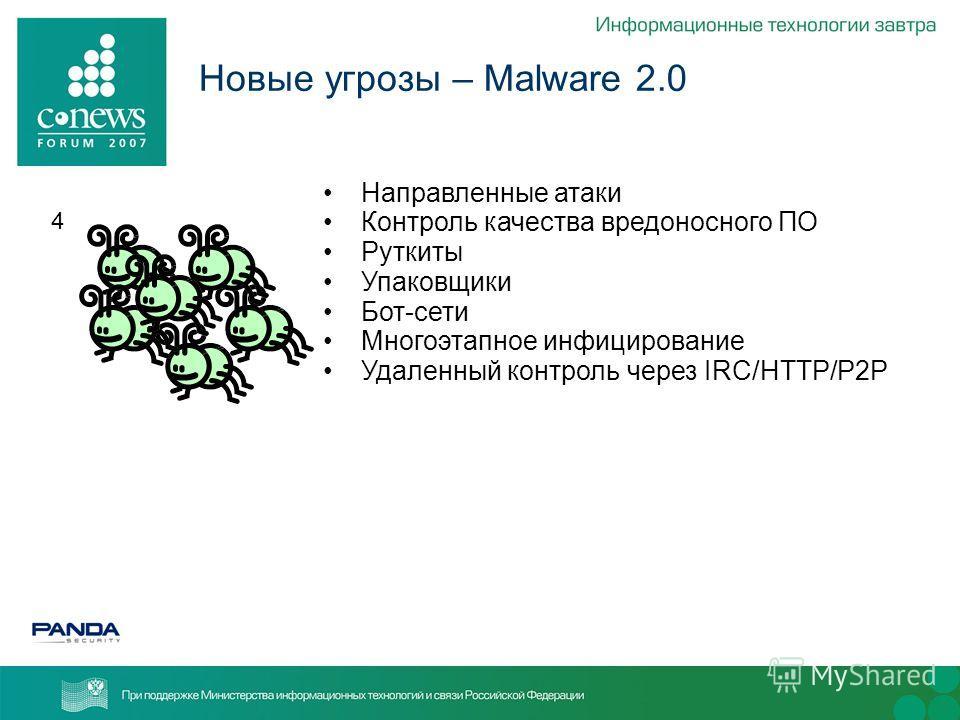 4 Новые угрозы – Malware 2.0 Направленные атаки Контроль качества вредоносного ПО Руткиты Упаковщики Бот-сети Многоэтапное инфицирование Удаленный контроль через IRC/HTTP/P2P