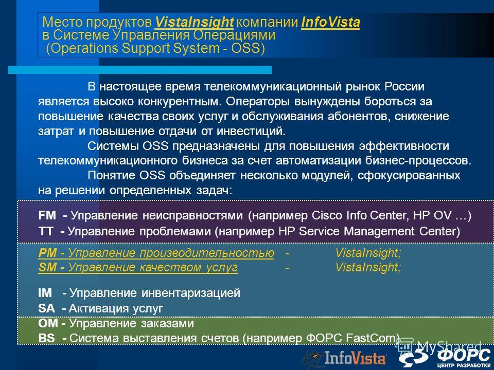 Место продуктов VistaInsight компании InfoVista в Системе Управления Операциями (Operations Support System - OSS) В настоящее время телекоммуникационный рынок России является высоко конкурентным. Операторы вынуждены бороться за повышение качества сво