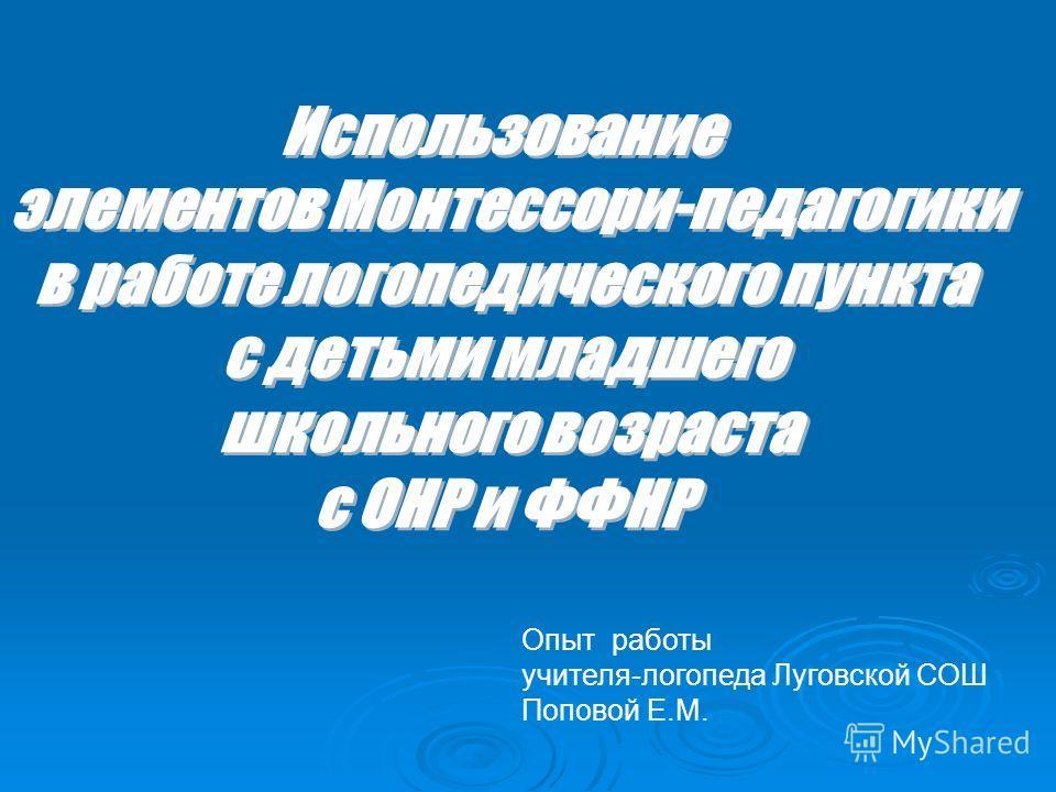 Опыт работы учителя-логопеда Луговской СОШ Поповой Е.М.