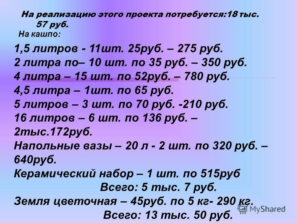 На реализацию этого проекта потребуется:18 тыс. 57 руб. На кашпо: 1,5 литров - 11шт. 25руб. – 275 руб. 2 литра по– 10 шт. по 35 руб. – 350 руб. 4 литра – 15 шт. по 52руб. – 780 руб. 4,5 литра – 1шт. по 65 руб. 5 литров – 3 шт. по 70 руб. -210 руб. 16