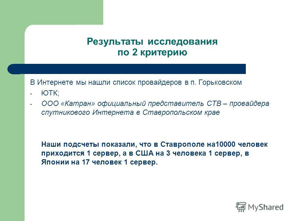 Результаты исследования по 2 критерию В Интернете мы нашли список провайдеров в п. Горьковском - ЮТК; - ООО «Катран» официальный представитель СТВ – провайдера спутникового Интернета в Ставропольском крае Наши подсчеты показали, что в Ставрополе на10