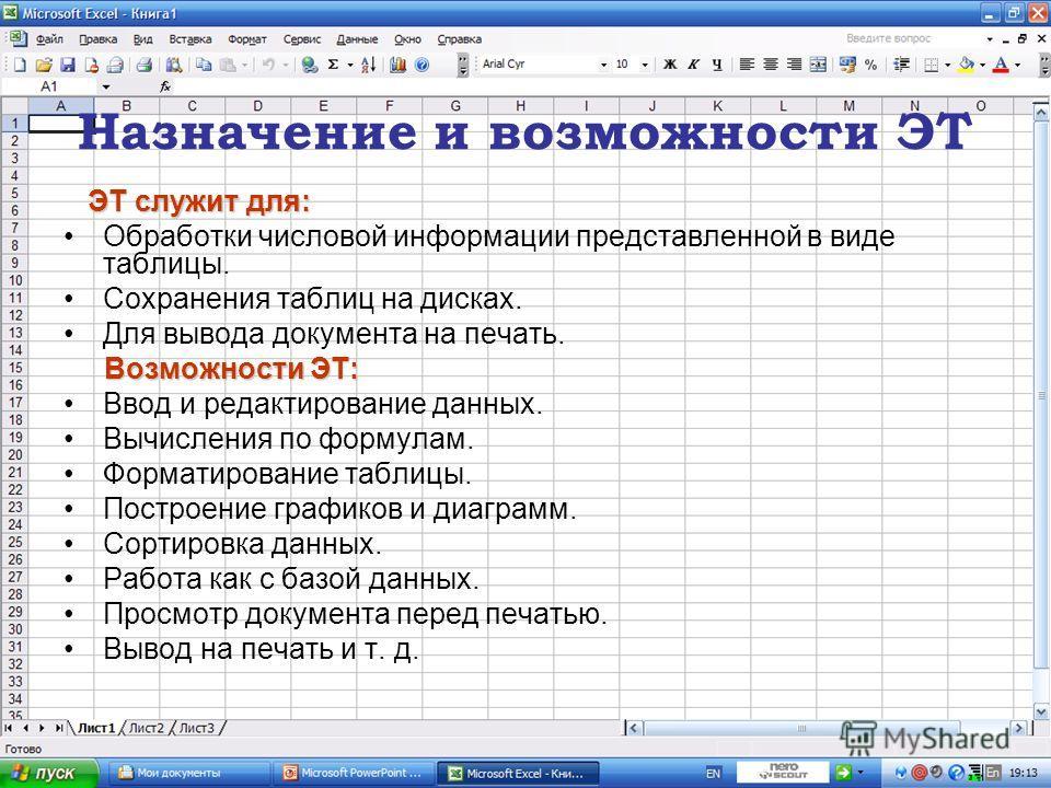 Назначение и возможности ЭТ ЭТ служит для: Обработки числовой информации представленной в виде таблицы. Сохранения таблиц на дисках. Для вывода документа на печать. Возможности ЭТ: Ввод и редактирование данных. Вычисления по формулам. Форматирование