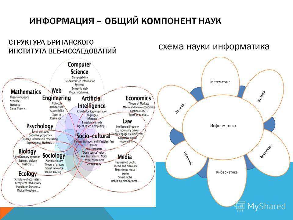 ИНФОРМАЦИЯ – ОБЩИЙ КОМПОНЕНТ НАУК СТРУКТУРА БРИТАНСКОГО ИНСТИТУТА ВЕБ-ИССЛЕДОВАНИЙ схема науки информатика